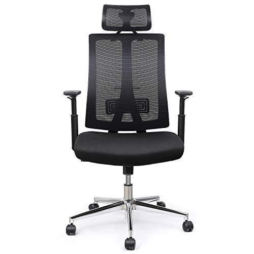 INTEY Bürostuhl, ergonomischer Schreibtischstuhl, Drehstuhl, Höhenverstellbar, Computerstuhl mit Armlehnen, 28g/cm³ softes Sitzkissen, Belastbar 125Kg (Versand durch DHL)
