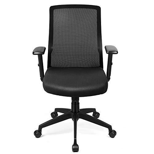 INTEY Bürostuhl, ergonomischer Schreibtischstuhl, Verstellbare Armlehne und Wippfunktion, Lendenstütze, 360°drehbar und belastbar bis 110 KG (Versand durch DHL)