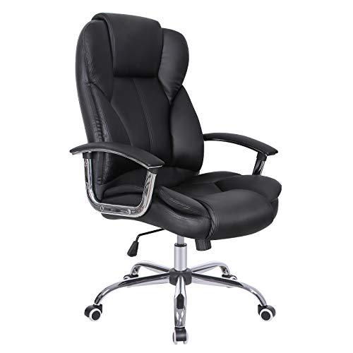 SONGMICS Bürostuhl mit hoher Rückenlehne Große Sitz- und Tilt Funktion Computer Executive Drehstuhl PU