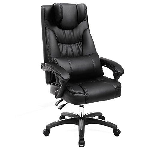 SONGMICS Erstellt, Luxus Bürostuhl mit klappbarer Kopfstütze extra großer orthopädischer Chefsessel ergonomischer Schreibtischstuhl schwarz OBG76B