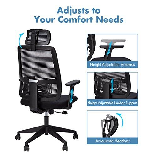 Slypnos Ergonomischer Bürostuhl, Schreibtischstuhl mit höhenverstellbaren Armlehnen, Rückenlehne und Kopfstütze, Schwarz