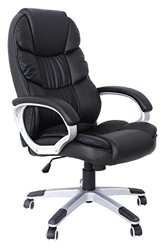 Songmics Bürostuhl mit 76cm hoher Rückenlehne, Großer Sitzfläche und Neige-Funktion, Stuhl mit Drehgelenk, PU-Lederimitat