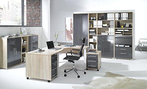 Arbeitszimmer komplett Set MAJA SYSTEM 1203 Büromöbel in Eiche Sonoma / hochglanz grau