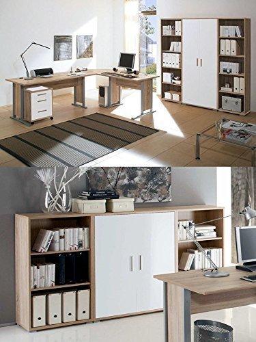 Arbeitszimmer mit Winkelschreibtisch komplett Set Office Line mit Highboard in Eiche Sonoma / Weiß glanz