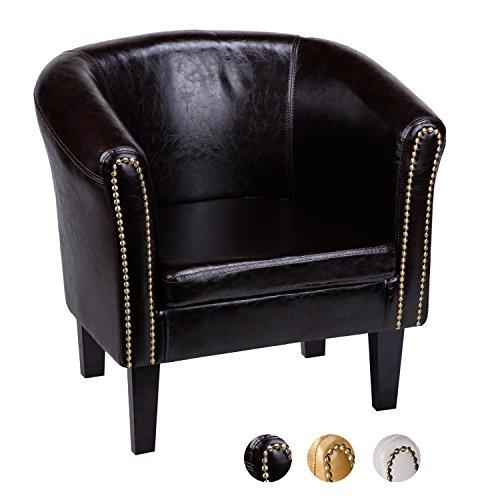 CCLIFE Chesterfield Sessel Loungesessel mit Hocker Clubsessel Cocktailsessel Ledersessel Braun/Weiss/Gold