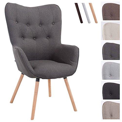 CLP Retrostuhl Aalborg mit Stoffbezug | Konferenzstuhl mit sesselförmigem Sitz und Gestell aus Eichenholz | Max. Belastbarkeit bis 160 kg
