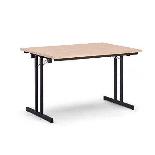 Certeo Klapptisch | HxBxT - 720 x 1200 x 800 mm | Extra starke rechteckige Platte | Gestell schwarz - Platte Ahorn-Dekor | Klapptisch Mehrzwecktisch Konferenztisch