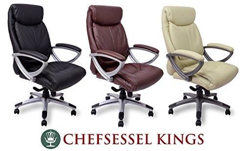 Chefsessel Kings - Schwarz Creme Braun - Bürostuhl Schreibtischstuhl Drehstuhl Sessel Stuhl PokerStuhl Casinostuhl