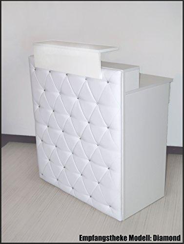 """Design Empfangstheke Modell: """"Diamond White"""" WEISS 100cm - Theke mit Strasssteinen-Tresen-Empfang-Count"""