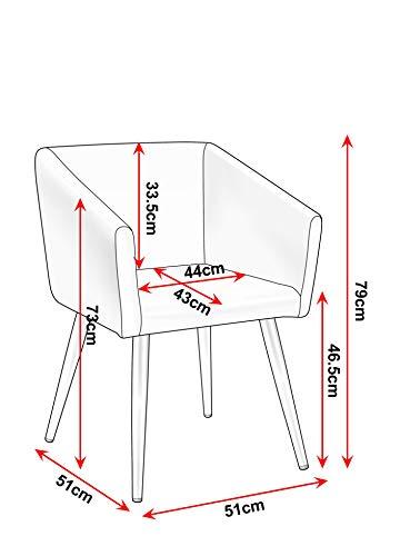 Duhome Esszimmerstuhl aus Stoff (Samt) Farbauswahl Retro Design Stuhl mit Rückenlehne Sessel Metallbeine 8065