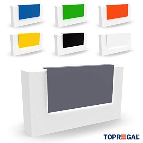 Elegante Empfangstheke VERA, LED-beleuchtet - Empfangstresen Empfangstisch Rezeption Verkaufstheke Messetheke