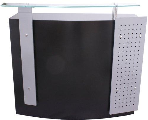 FIGARO Rezeption Rezeptionstheke mit Frontblende sowie Glasablage Farbe silbergrau / schwarz
