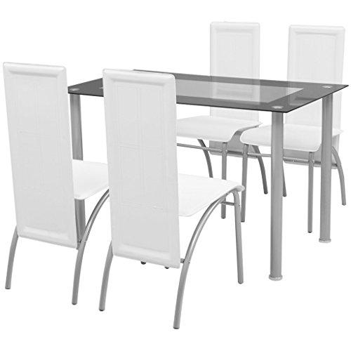 Festnight 5tlg. Set Essgruppe Set Esstisch + 4 Essstühle Esszimmertisch Küchenstuhl Esszimmer Sitzgruppe Weiß