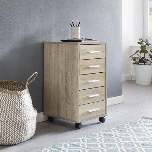 FineBuy Rollcontainer Lara 33 x 63 x 38 cm Holz Schubladenschrank Schreibtisch | Büro Schrank mit 5 Schubladen | Container Rollschrank klein Standcontainer schmal | Schreibtischcontainer mit Rollen