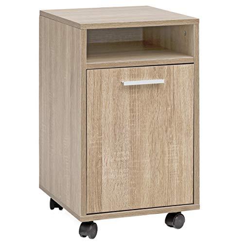 FineBuy Rollcontainer SV51848 Holz 33x60x38cm Schubladenschrank Büro Container | Schreibtischcontainer mit Tür & Ablage | Bürocontainer Beistellcontainer mit Rollen | Kleiner Schubladencontainer