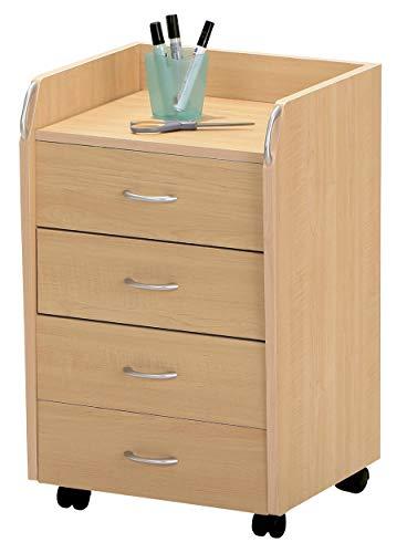 H24living Rollcontainer Bürocontainer Rollschrank Schubladenkommode Mobiler Büroschrank mit Schubladen und Rollen