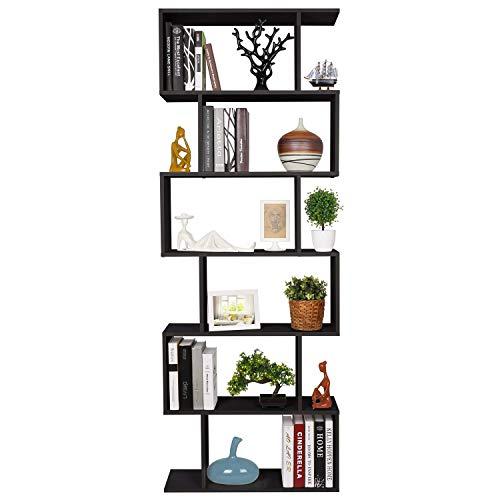 HOMFA S-Form Bücherregal Raumteiler Regal Standregal Ablageregal Büroregal Aktenregal Wandregal für Diele, Flur, Büro mit 6 Ablagen 190.5 * 70 * 23.5 cm