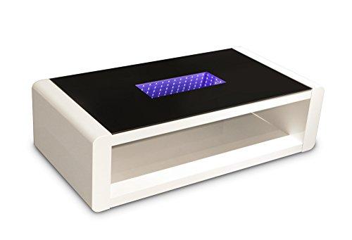 Homexperts Couchtisch Holz hochglanz weiß/glas schwarz 60 x 120 x 35 cm