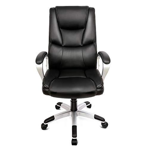 INTEY Chefsessel, PU Bürostuhl, Bürostuhl mit hoher Rücklehne, Schreibtischstuhl, verdicktes Kopfkissen und Sitzkissen, ergonomisches Design, Schwarz