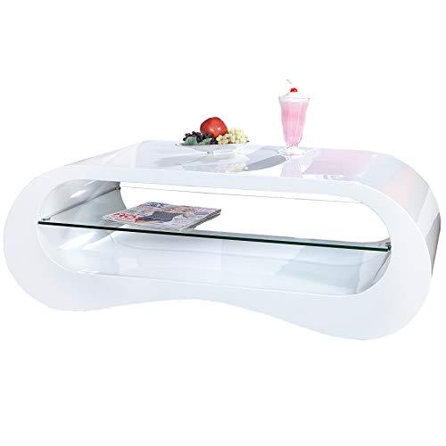 Invicta Interior Design Couchtisch MANHATTAN weiß Hochglanz 110 cm inklusive Glaselement mit Glasplatte