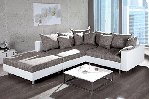 Invicta Interior Design Ecksofa mit Hocker LOFT Bezugstoffe mit Federkern Ottomane beidseitig aufbaubar