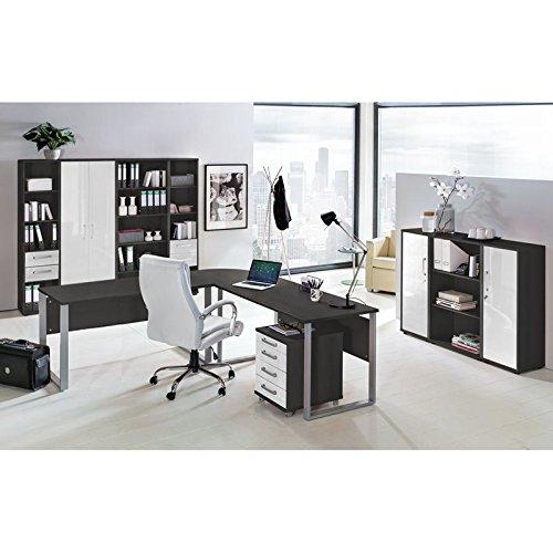 Lomado Komplett Büromöbel Set in anthrazit mit Hochglanz weiß ● 2 x 140cm Schreibtische mit Metallkufen-Gestell ● Rollcontainer, Aktenschränke und Aktenregale ● Made in Germany