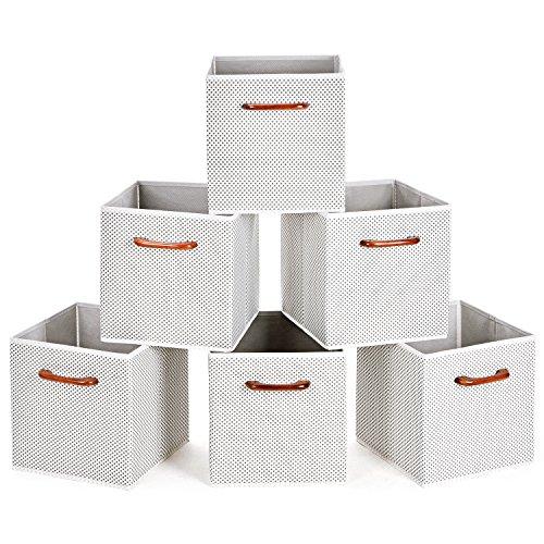MaidMAX Aufbewahrungsboxen aus Stoff 6er Set, Faltbare Korb Würfel Organizer Boxen Container mit Holz Griff für Büro Kinderzimmer Schlafzimmer Schrank Graue Tupfen