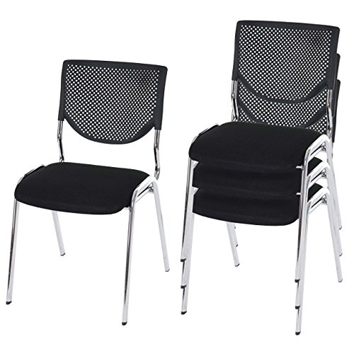 Mendler 4X Besucherstuhl T401, Konferenzstuhl stapelbar, Stoff/Textil ~ Sitz schwarz, Füße Chrom