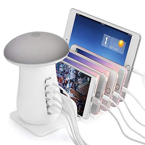 ONLT Ladestation, 6 USB-Anschlüsse für das Aufladen mehrerer Geräte mit LED-Nachtlicht in Pilzform für iPhone, iPad, Tablet und vieles mehr