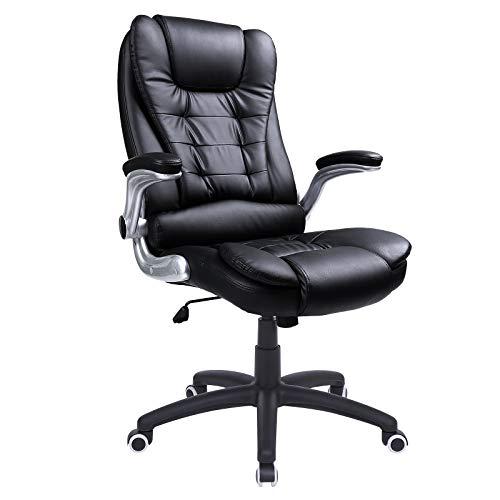 SONGMICS Büro Stuhl mit 76cm hohe Rückenlehne Große Sitz- und Armlehnen Computer-Schreibtisch Drehstuhl