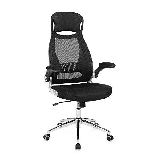 SONGMICS Bürostuhl Drehstuhl Chefsessel Bürodrehstuhl mit Kopfstütze klappbare Armlehnen Wippfunktion, Schwarz OBN86BK