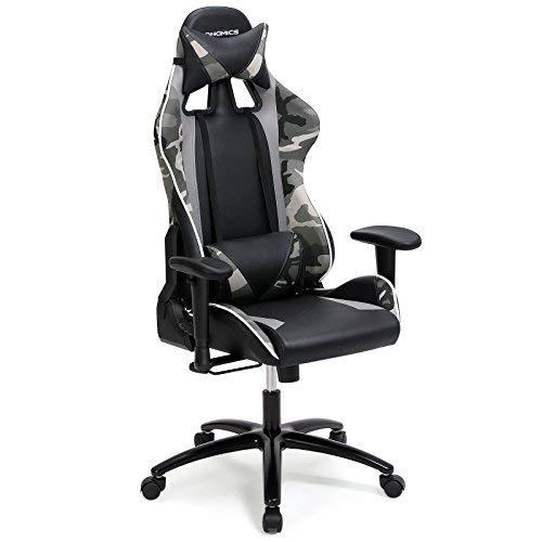 SONGMICS Bürostuhl Gaming Stuhl mit Hoher Rückenlehne Formschaum Gepolsterte Sitzschale Verstellbare Kopfkissen und Lendenkissen für Soho- Oder Büroarbeit Schwarz RCG47BG