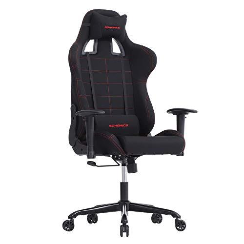 SONGMICS Bürostuhl Gaming Stuhl mit hoher Rückenlehne Formschaum gepolsterte Sitzschale verstellbare Kopfkissen und Lendenkissen für Soho- oder Büroarbeit schwarz RCG001