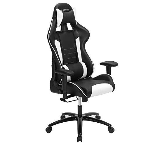 SONGMICS Bürostuhl Racing Stuhl Gamingstuhl mit hoher Rückenlehne Formschaum gepolsterte Sitzschale Verstellbare Kopfkissen und Lendenkissen