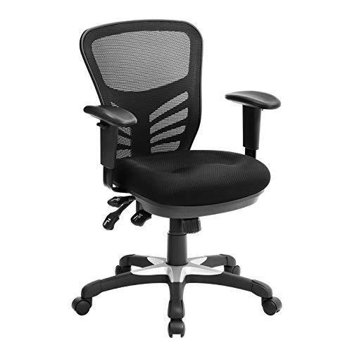 SONGMICS Bürostuhl, ergonomischer Drehstuhl, aus Maschenmaterial, atmungsaktiv, 3 Einstellhebel, mit Lendenstütze und verstellbarer Armlehne aus PU, höhenverstellbar rückenlehne, OBN52BK