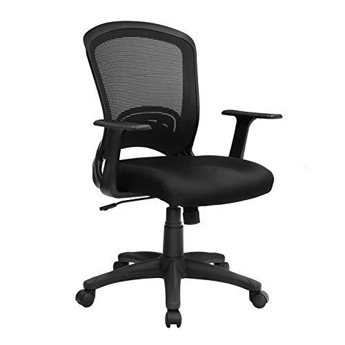 SONGMICS Bürostuhl, ergonomischer Drehstuhl, aus Maschenmaterial, atmungsaktiv, mit Armlehnen aus PP, maximale Belastbarkeit 120 kg, OBN31BK