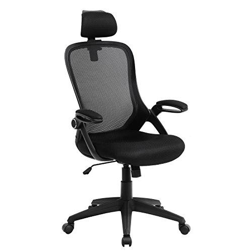 SONGMICS Bürostuhl, ergonomischer Drehstuhl, mit klappbarer Armlehne aus Schaumstoff und Verstellbarer Kopfstütze, Schwarz OBN51BK