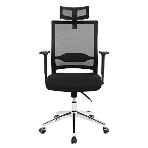 SONGMICS Bürostuhl, ergonomischer Drehstuhl mit verstellbare Kopfstütze und Armlehnen, Höhenverstellung und Wippfunktion für Soho- oder Büroarbeit, Belastbar bis 150kg, OBN85BK