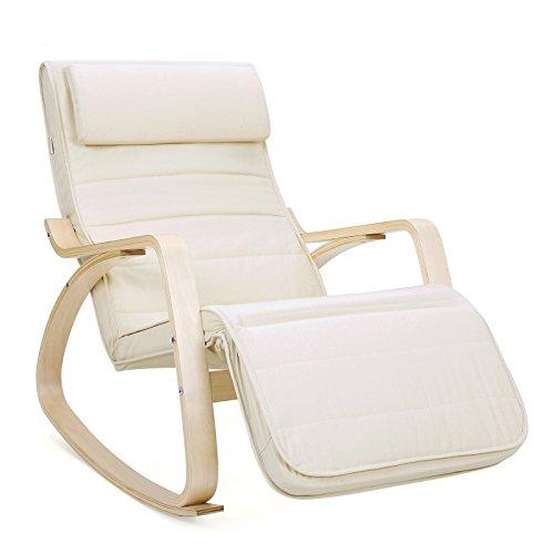 SONGMICS Sessel Schaukelstuhl Relaxstuhl Birkenholz 5-Fach verstellbares Fußteil Belastbarkeit 150 kg