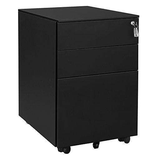 SONGMICS Stahl Rollcontainer mit 3 Schubladen und Hängeregistratur Abschließbarer Büroschrank, Schrankkorpus Vormontiert, 52 x 39 x 60 cm