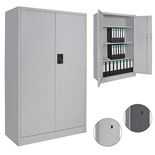 Spind Büroschrank Aktenschrank 140 x 85 x 39 cm Metallschrank Universalschrank mit 3 Einlegeböden, Höhe frei montierbar Ordnerschrank