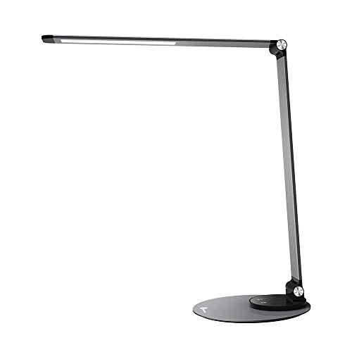 TaoTronics LED Schreibtischlampe Metall Tageslichtlampe mit 6 Helligkeits- und 3 Farbstufen, Ultradünn, augenschonende LED, Speicherfunktion, USB Ladeanschluss, Energieeffizient