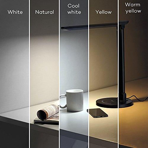TaoTronics Schreibtischlampe LED 12W Tischleuchte 5 Farb- und 7 Helligkeitsstufen dimmbar Touchfeldbedienung Memory-Funktion USB-Anschluss für Aufladung des Smartphones