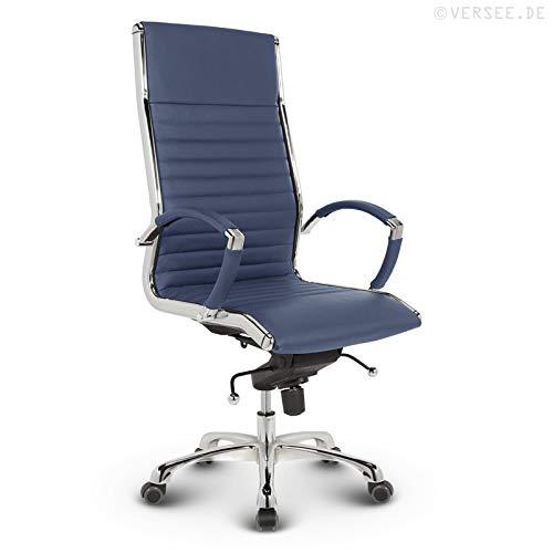 VERSEE Design Bürostuhl Chefsessel Montreal -- Echt-Leder -- blau -- Drehstuhl, Bürodrehstuhl, Schreibtischstuhl, Chefstuhl, Ergonomisch, hohe Rückenlehne, mit Armlehnen, auf Rollen, mit Polsterung, Höhenverstellbar, Wippfunktion, Designklassiker, hochwertige Verarbeitung, massives Metall-gestell, Chrom Büro Sessel, Stuhl, 150 kg belastbarkeit