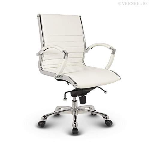 VERSEE Design Bürostuhl Montreal -- Echt-Leder -- weiß -- Konferenzstuhl, Meetingstuhl, Drehstuhl, Bürodrehstuhl, Schreibtischstuhl, Ergonomisch, niedrige Rückenlehne, mit Armlehnen, auf Rollen, mit Polsterung, Höhenverstellbar, Wippfunktion, Designklassiker, hochwertige Verarbeitung, massives Metall-gestell, Chrom Büro Sessel, Stuhl, 150 kg belastbarkeit