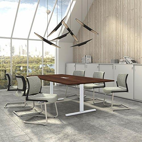 Weber Büro Easy Konferenztisch 240x120 cm Nussbaum mit ELEKTRIFIZIERUNG Besprechungstisch Tisch