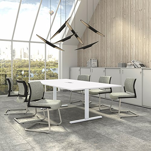 Weber Büro Easy Konferenztisch 240x120 cm Weiß mit ELEKTRIFIZIERUNG Besprechungstisch Tisch