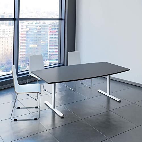 Weber Büro Easy Konferenztisch Bootsform 200x100 cm Anthrazit Besprechungstisch Tisch