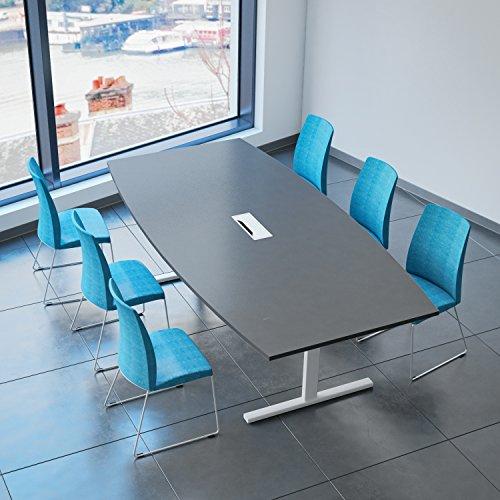 Weber Büro Easy Konferenztisch Bootsform 240x120 cm Anthrazit mit Elektrifizierung Besprechungstisch Tisch