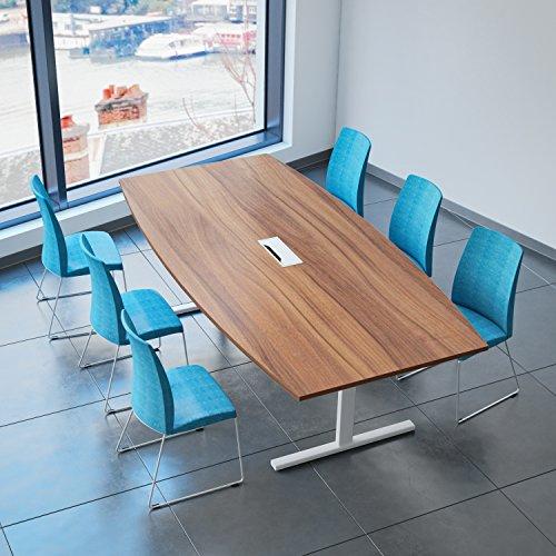 Weber Büro Easy Konferenztisch Bootsform 240x120 cm Nussbaum mit Elektrifizierung Besprechungstisch Tisch
